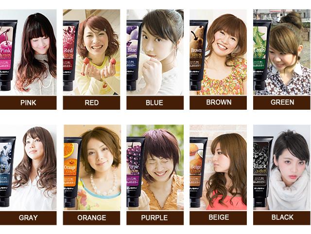 仕上がりイメージ:グリーン、グレー(アッシュ)、オレンジ、パープル ※黒髪や暗い髪は色の変化がわかりません。