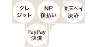クレジット、NP後払い、楽天ペイ、PayPay決済がご利用いただけます