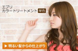 エブリ カラートリートメント単色|明るい髪からの仕上がり