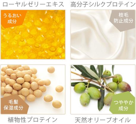 ローヤルゼリーエキス、高分子シルクプロテイン、植物性プロテイン、天然オリーブオイル